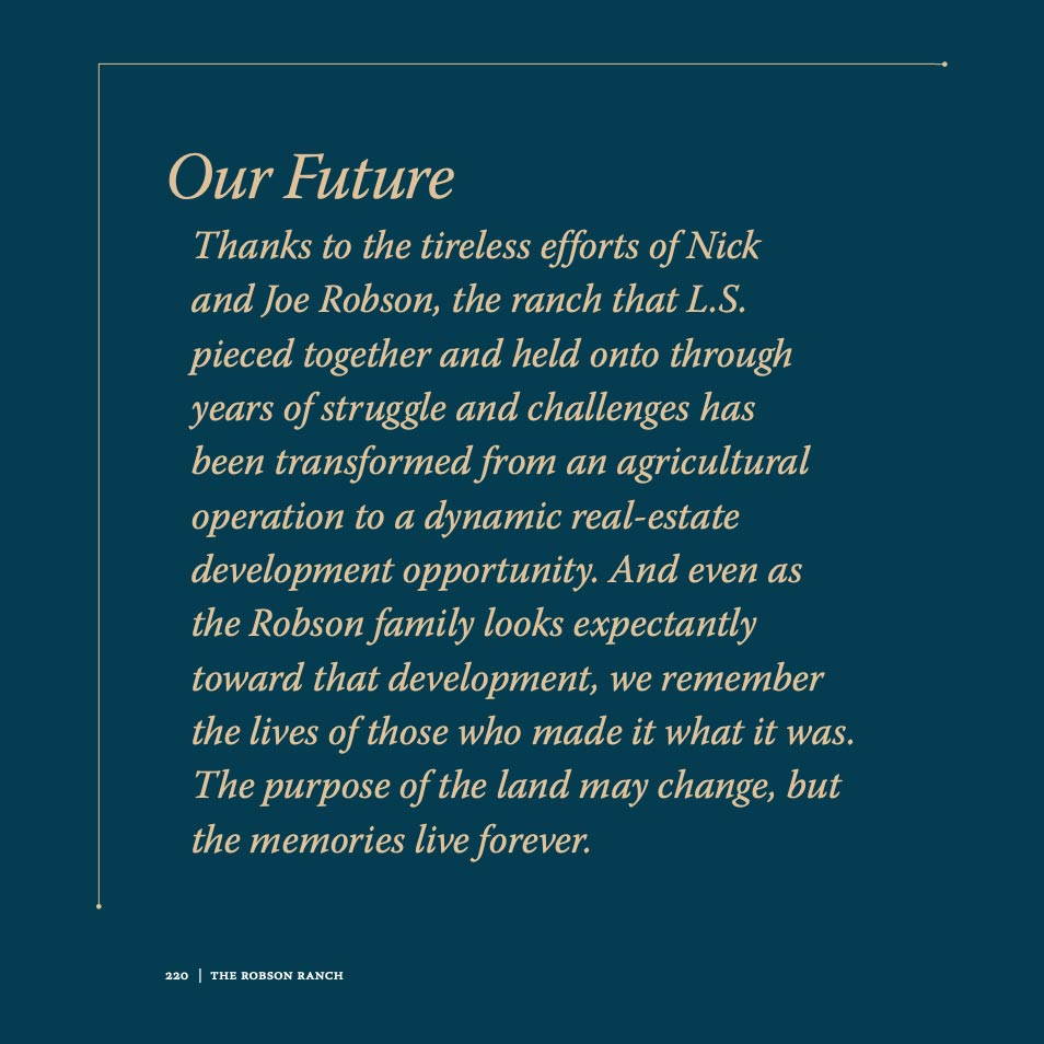 Robson Ranch family legacy book, thank-you paragraph to Nick and Joe Robson.