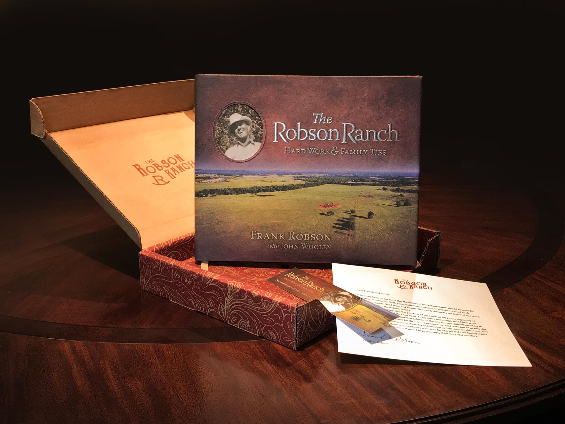 'The Robson Ranch' custom gift boxes, including transmittal letter and matching bookmark.
