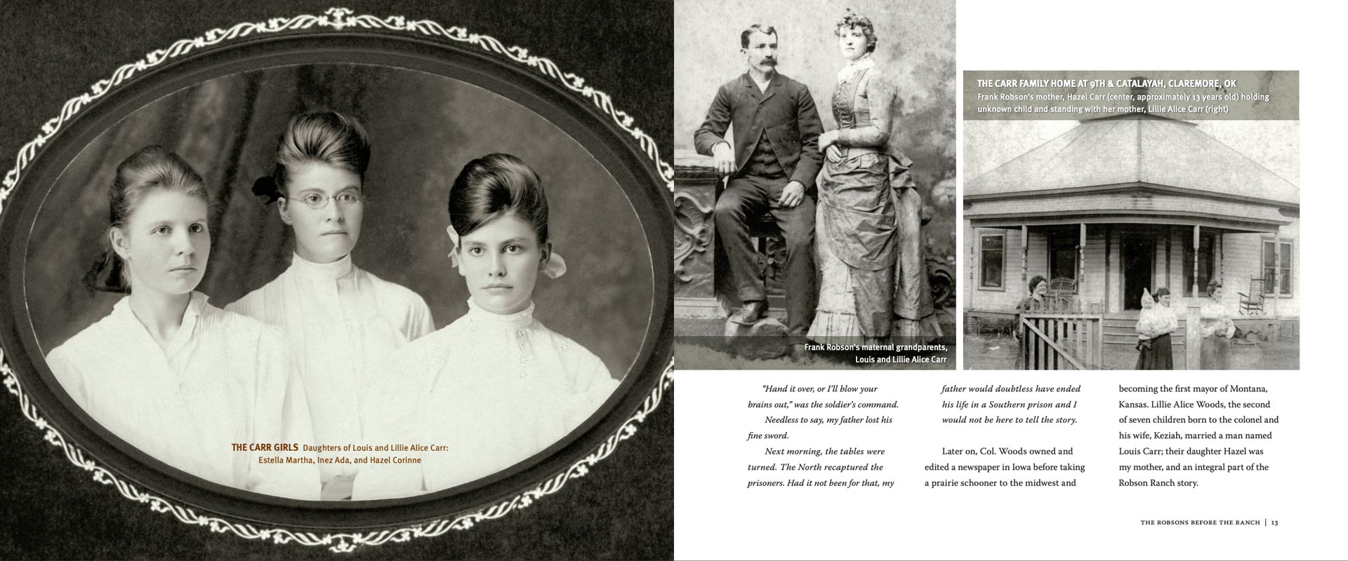 L.S. Robson history book, Robson Ranch, 2-page spread showing old family photos.