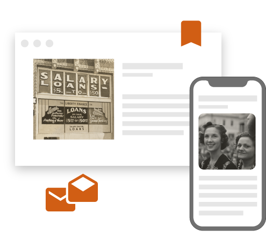 web content, blog content, and social media posts with historical company pictures